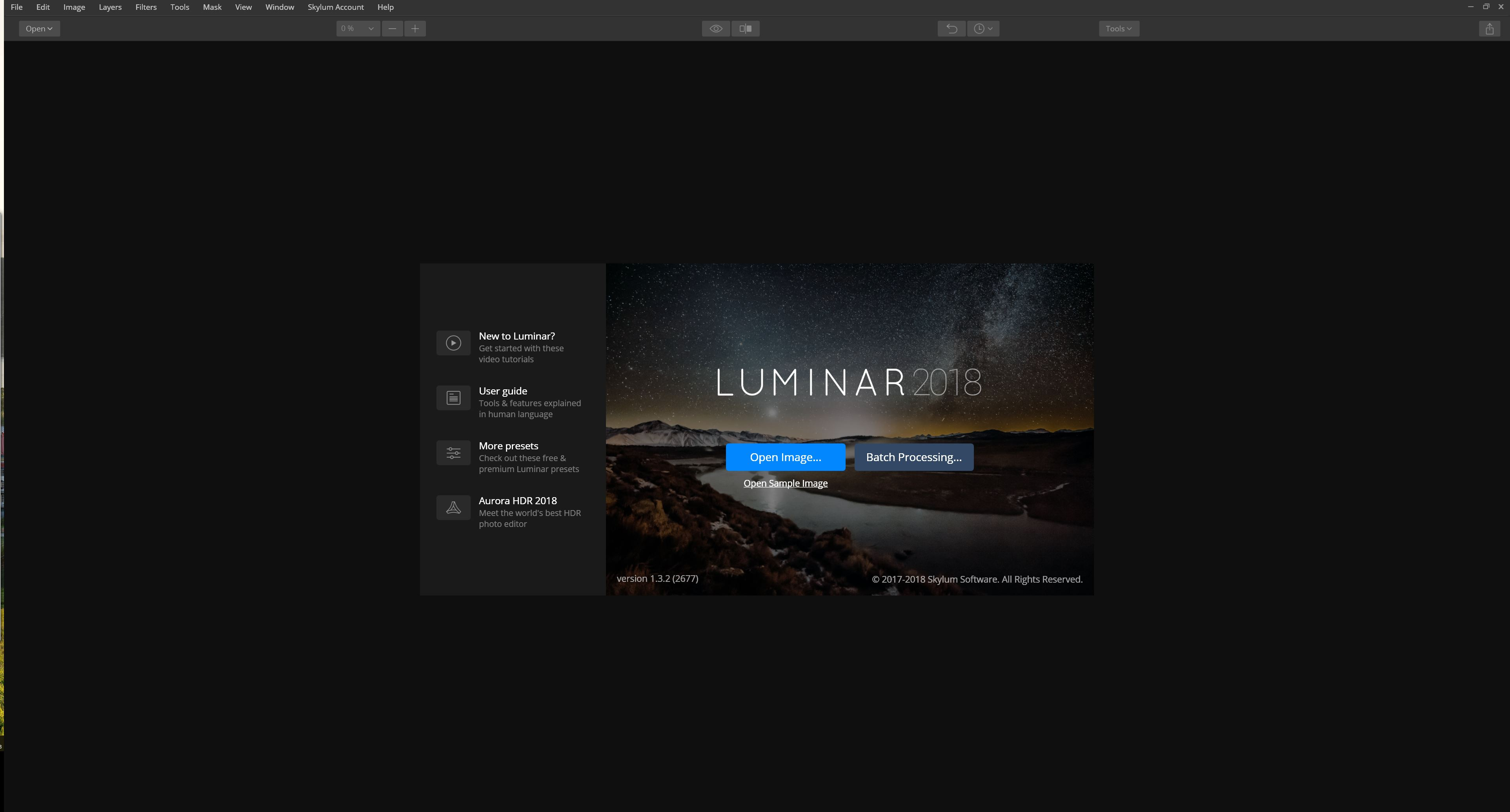 Luminar Open Page