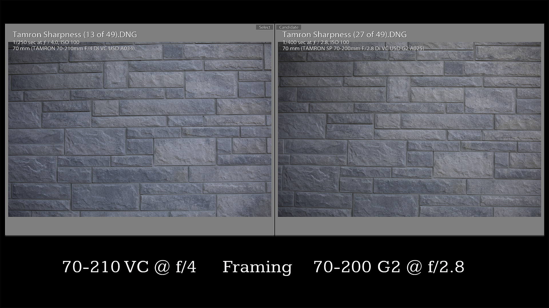 70mm Comparison Framing